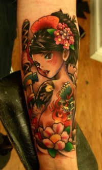Colorful cute geisha tattoo by Andy Walker