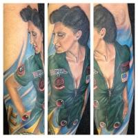 Coloured top gun pin up girl tattoo by Randy Engelhard