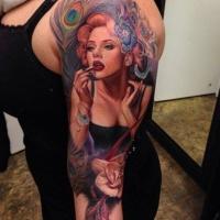 Realistic beautiful girl tattoo on arm by Rember Orellana